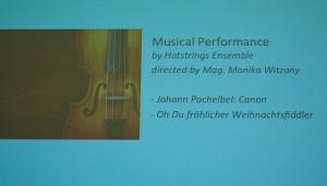 """Auftritt des Suzuki - Ensembles """"Hotstrings"""" am 13. Dez. 2013 bei der Gesellschaft für Ethik an der Universität Wien"""